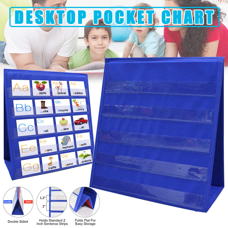 New Arrival Double-sided Self-standing Foladble Desktop Pocket Chart For Classroom Home Teaching Kids Children Educational Tools