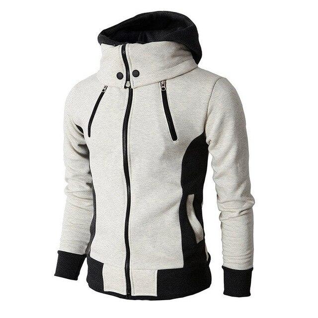 2021 Zipper Men Jackets Autumn Winter Casual Fleece Coats Bomber Jacket Scarf Collar Fashion Hooded Male Outwear Slim Fit Hoody 4