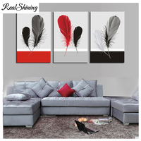 3 pcs Red Black Gray Feather Still Life DIY 5D Embroidery Diamond Painting rhinestone Cross Stitch Kit Mosaic Home Decor FS6845