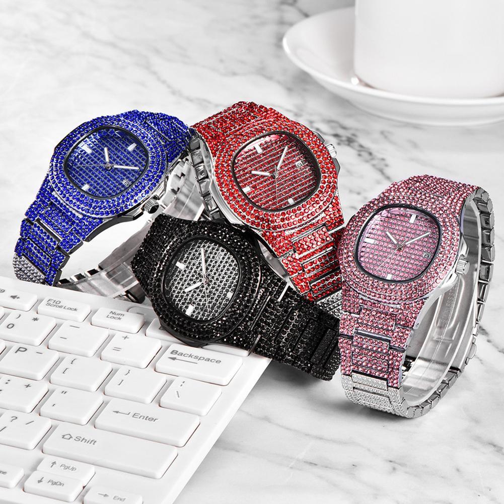 Luxury Brand Fashion Adjustable Rhinestone Inlaid Round Dial Analog Quartz Wristwatch For Lovers Unisex Watch