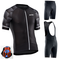 2019 Camisa ciclismo manga corta verano hombres pantalones cortos conjunto babero bicicleta ropa deportiva camisa traje NW