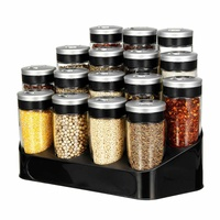 Standing Spice Storage Rack Holder 16 Seasoning Bottles Kitchen Organizer Shelf Condiment Pot Storage Jar Bottles Set 100ml