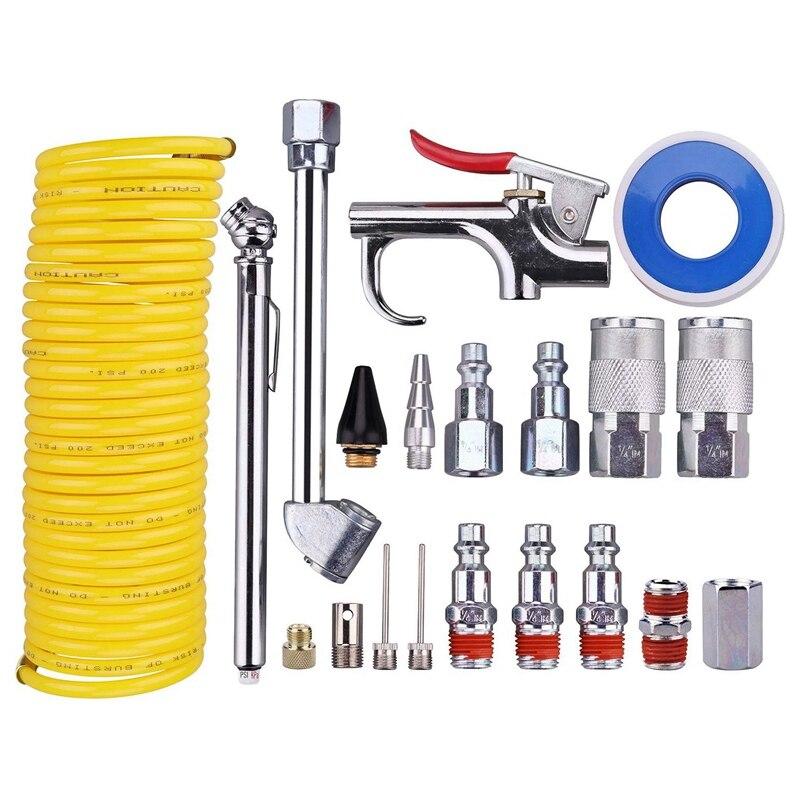 20 Pezzi Compressore D'aria Kit di Accessori, 1/4 Inch Npt Air Tool Kit con 1/4 Inch X 25Ft Bobina di Nylon Tubo/Calibro Della Gomma
