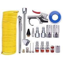 20 Stuks Air Compressor Accessoire Kit, 1/4 Inch Npt Air Tool Kit Met 1/4 Inch X 25Ft Coil Nylon Slang/Bandenspanningsmeter