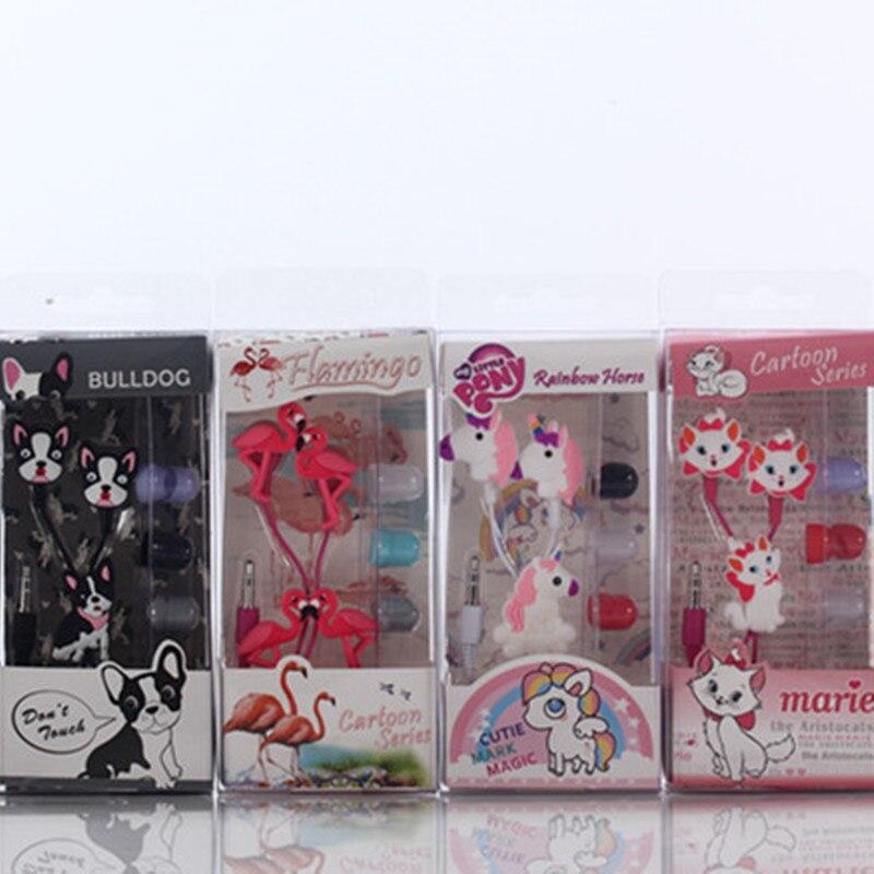 Nuevo estilo de dibujos animados auriculares flamenco marie gato negro Bulldog unicornio auriculares ordenador teléfono móvil auriculares