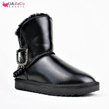 G&Zaco Luxury Wool Boots Women Waterproof Genuine Leather Cowhide Snow Boots Sheep Fur Boot Chain Winter Fashion Women's Shoes cowhide wool and fur in one boots snow boots
