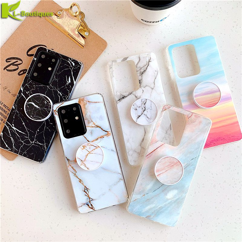A51 S20 Marble Case On Sfor Samsung Galaxy A51 Case For Funda Samsung S 20 Plus S20 Ultra A 51 A71 Cover Finger Ring Holder Etui