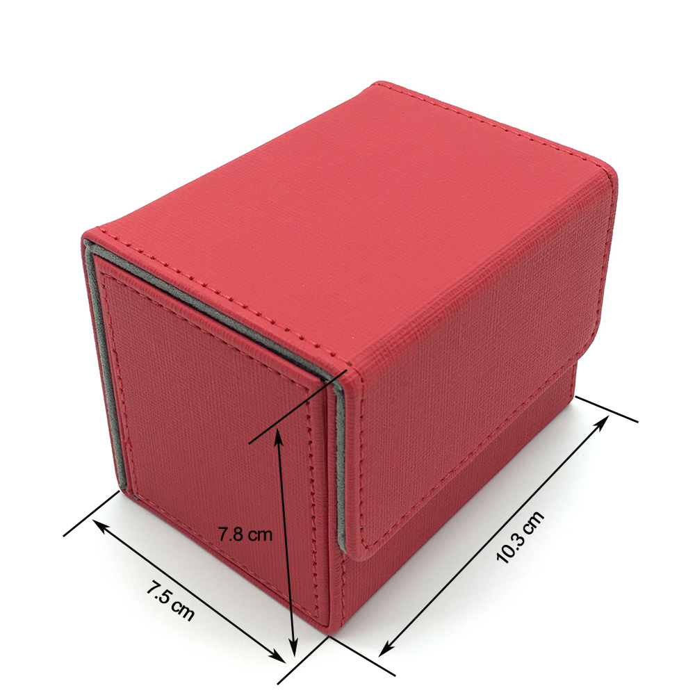 High Quality Small Side Open Magic/Pokemon/YuGiOh Card Deck Card Box: Red(China)