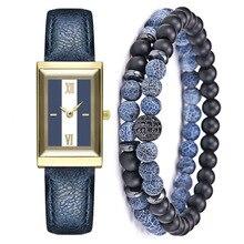 Square Watch For Women 2 Pcs Blue Openwork Gemstone Beads Bracelet Jewe