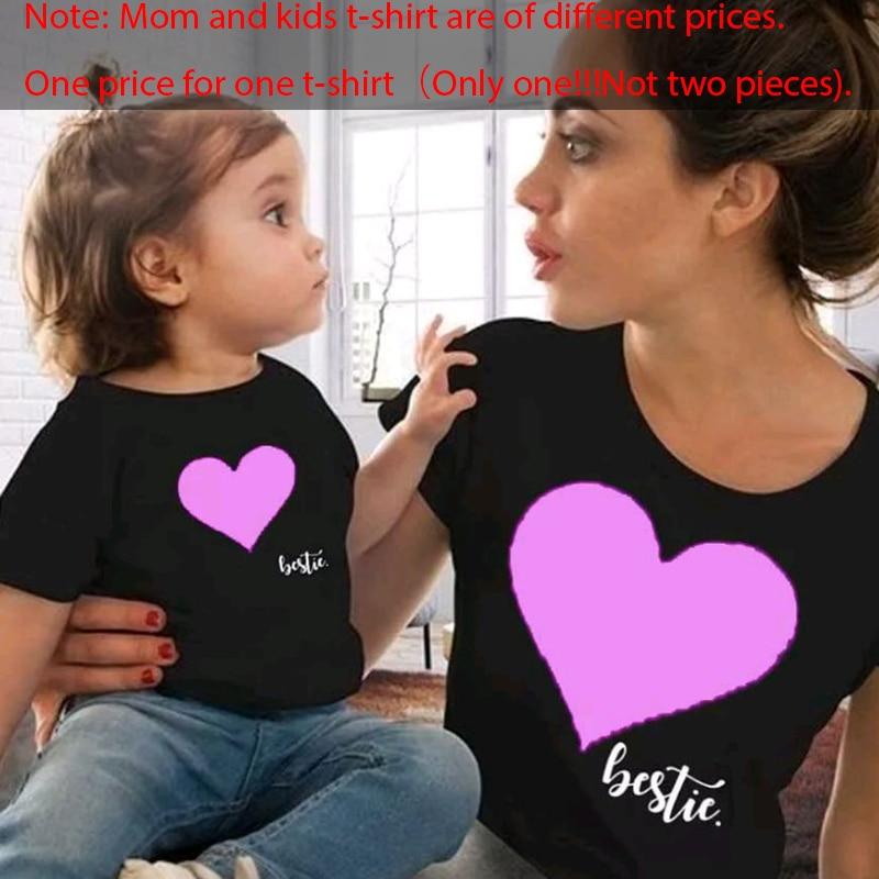 Gourd Doll/одежда «Мама и я» одинаковые комплекты для семьи для мамы и дочки футболка мягкие хлопковые топы с принтом сердца для мамы и ребенка - Цвет: black Pink