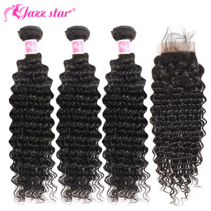 Image 3 - Brazilian Deep Wave Bundles With Closure Non Remy Human Hair 3 and 4 Bundles With Lace Closure Queen Mary Human Hair Extensions