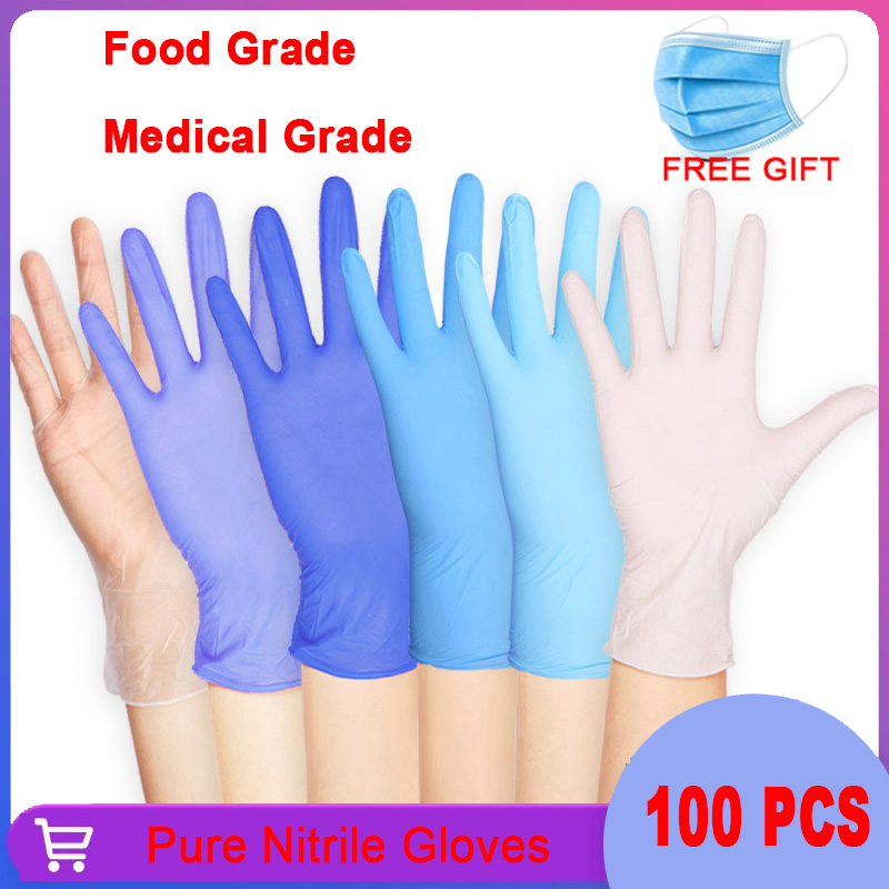 Nitrile Gloves 100PCS Food Grade Waterproof Allergy Free Powder Free Disposable Work Safety protective Gloves Nitrile Gloves