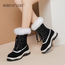 ROBESPIERE Women Snow Boots Top Quality Cow Suede Natural Wool Fur Winter Warm Ankle Boots For Women Flat Platform Shoes B115