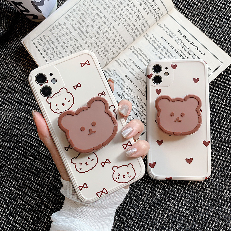 Cute 3D Bear Stand Holder Phone Case For Iphone 12 11 Pro Max 12Mini XR XS Max X 7 8 Plus Cartoon Soft Silicone Phone Back Cover