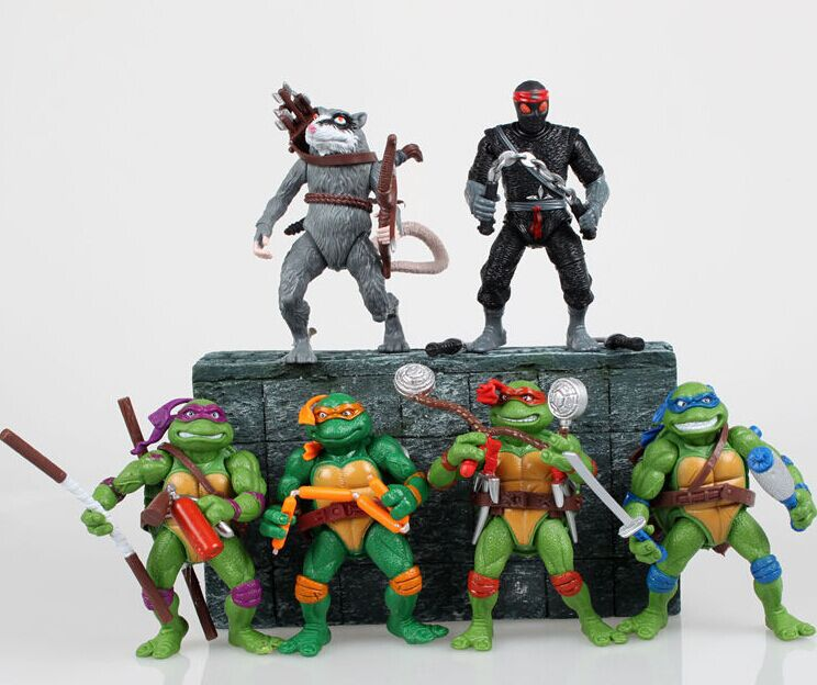 [Funny] 6pcs/lot Mutant Turtles Movie 12cm Master Splinter Leonardo Raphael Michelangelo Donatello Model Doll Action Figures Toy