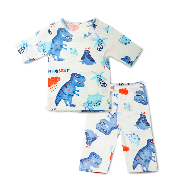 Men And Women Baby Home Wear New Eye Charm Mian Slub Cotton 7 Points Air Conditioning Clothes Cartoon Pajamas Suit 1704a