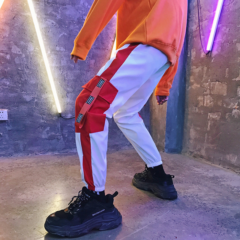 Bib Overall MEN'S Casual Pants 2019 Autumn New Style Chinese-style Contrast Color Large Pocket MEN'S Trousers Students Capri Pan