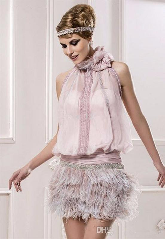 Backless Cocktail Dresses Sheath Halter Chiffon Feather Beaded Short Mini Elegant Homecoming Dresses