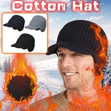 Zimowe czapki z dzianiny czapki męskie grube wełniane czapki jesienne i zimowe na zewnątrz ciepłe ochrona słuchu Bonnet Beanie czapki miękkie czapki tanie tanio CN (pochodzenie) Chłopcy Men s Thick Wool Hat Autumn And Winter Outdoor Warm Ear Protection Kni Stałe Termiczne Akrylowe