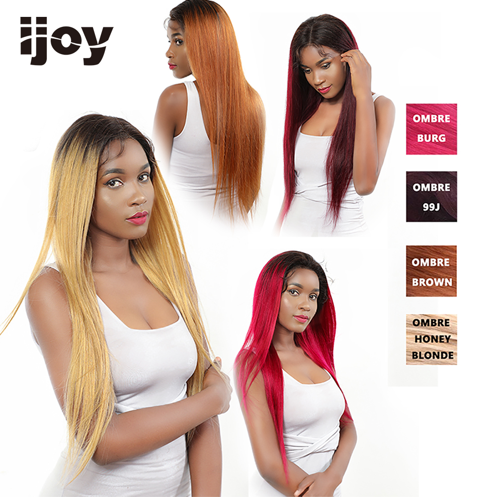 "Ombre 27 Honey Blonde Straight Lace Front Colored Gold Blond Wigs 150% Density 13*4 Non-Remy Brazilian Human Hair 10""-30"" IJOY"