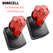 Bonacell 6000mAh 12V Power Tool Li-ion Battery for Milwaukee M12 C12 WS M12 IR Rechargeable Li-ion Replacement Battery L30 bonacell 40v 6000mah rechargeable replacement battery for creabest 40v 200w greenworks 29462 29472 22272 g max gmax l30