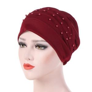 Image 5 - Мусульманский тюрбан для женщин, хлопчатобумажный тюрбан, Женская химиотерапия шляпа, головной убор, простой тюрбан, хиджаб, Женский тюрбан, тюрбан с бисером
