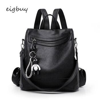 Female Teen Backpack Backpacks Luxury Student Lock Zipper Pu Pu Pink Business School Backpacks For Teenagers Back Pack Bookbags push lock detail pu backpack