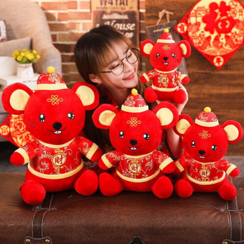New Year Kawaii Toy High Quality Plush Mouse In Tang Suit Soft Chinese 2020 Rat Year Stuffed Plush Toys New Year Gift For Kids
