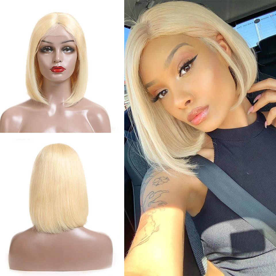 Eseewigs 613 Blonde Lace Front Wigs 150% Straight Bob Brazilian Remy Hair Wig For Women Pre Plucked Natural Hairline 8-16Inch