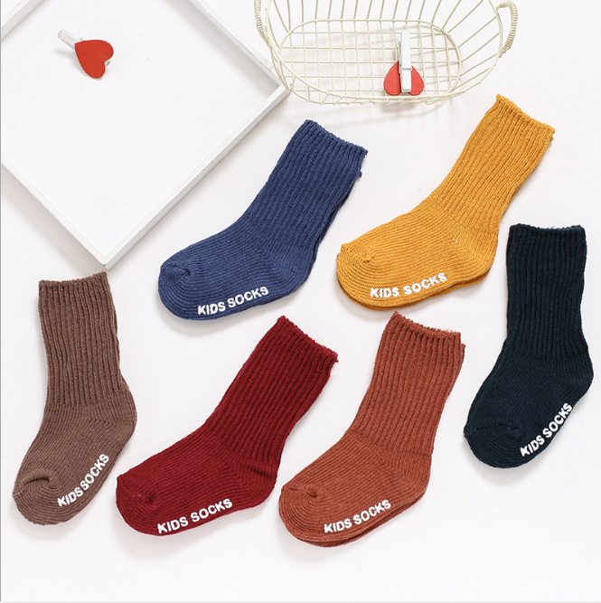 19 Spring And Summer New Style Children Tube Socks Baby Anti-slip Bunching Socks Slub Yarn Men And Women Children Yarn Socks Dar