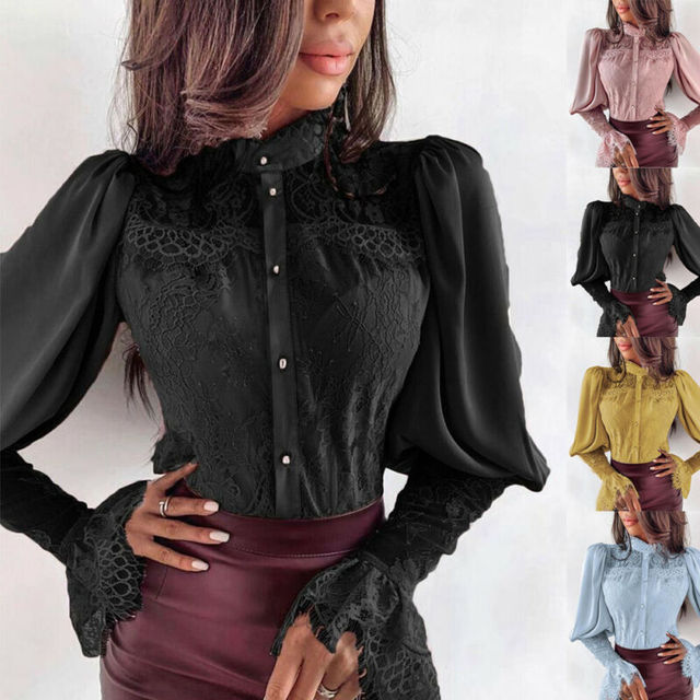 Fashion Womens Blouses And Tops Lantern Long Sleeve Tops Lace Ruffle Shirt Loose Ladies Blouses Fashion Tops Female OL Shirts