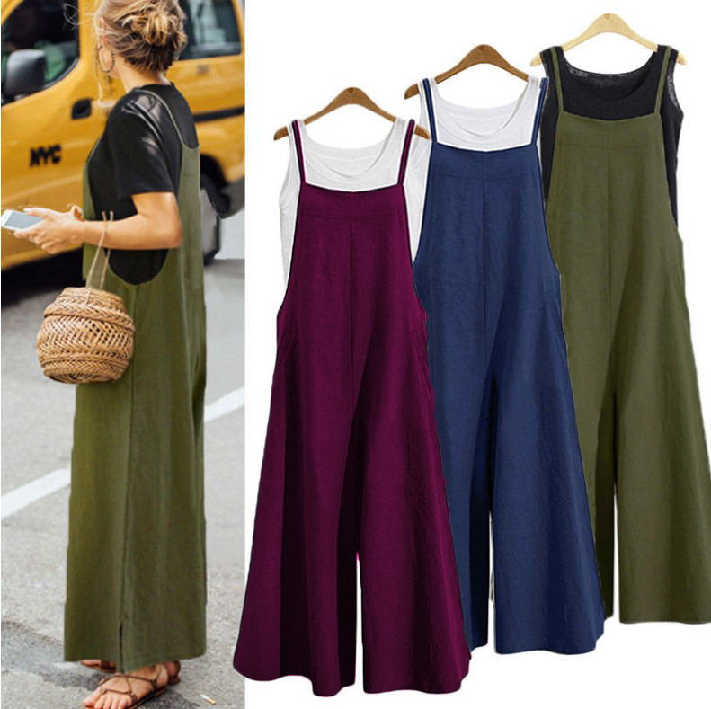 HOT Fashion Womens Ladies Tank Strappy Loose Baggy Dungarees Overalls Oversized   Jumpsuit   Plus Size S-5XL