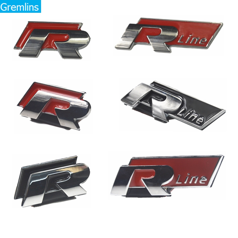 Universal R Logo Sticker Car Steering Wheel Sticker Car Chromed Emblem Badge Decal Sticker R Racing For VW