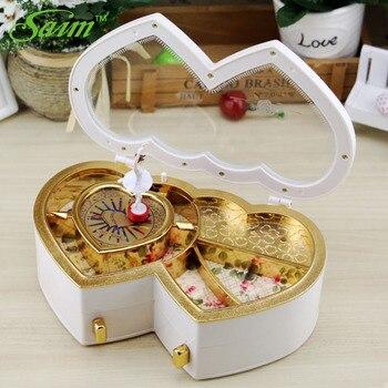 Heart Shape Musical Jewelry Box Dancing Girl Music Box Creative Dancing Gift