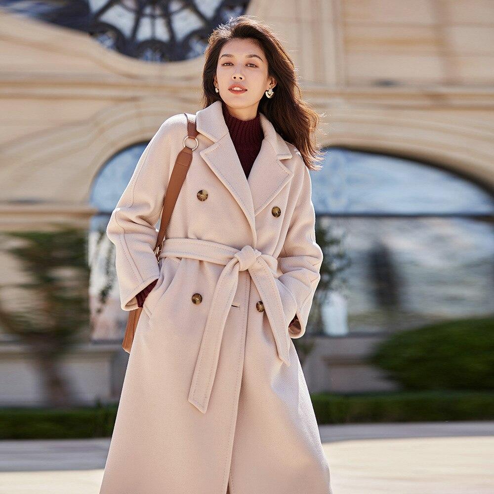 Оригинальный дизайн женское осеннее зимнее Элегантное повседневное теплое 100% шерстяное пальто двубортное с поясом розового/Красного размера плюс шерстяная куртка - 4