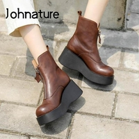 Johnature 2020 New Ankle Women Boots Zip Genuine Leather Women Shoes Round Toe Wedges Winter Handmade Leisure Platform Boots