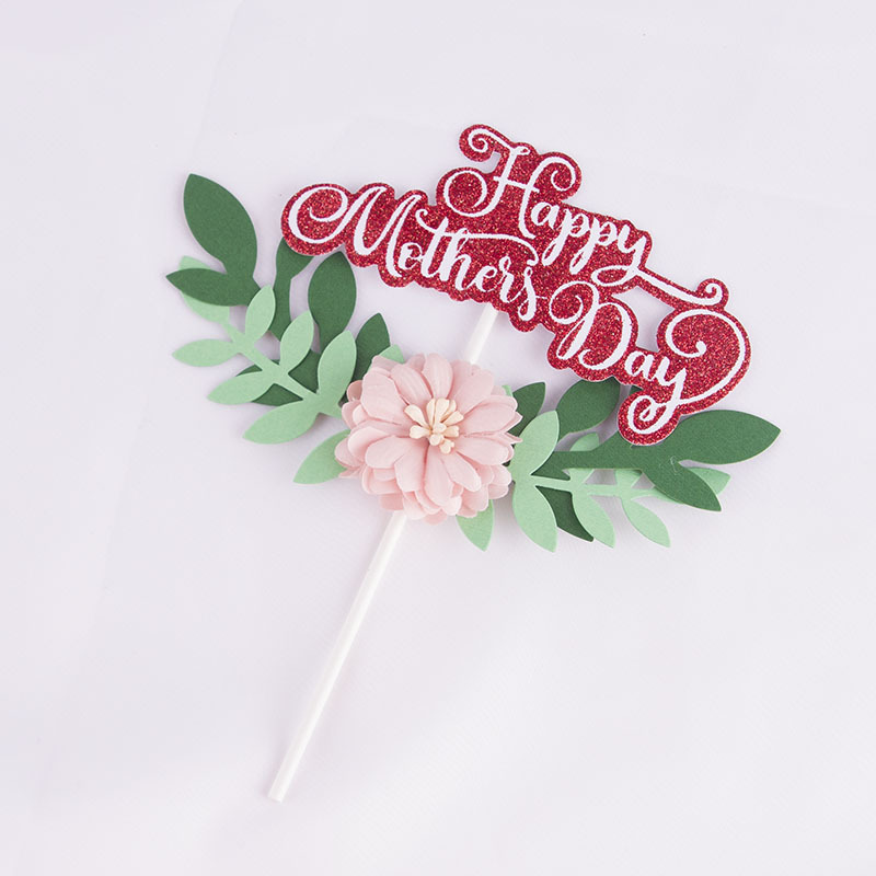 Wire Stem Flower Cake Supply Florist Happy Mother/'s Day Decoration Gold heart Mothers Day Craft Supply Centerpieces Cake Topper