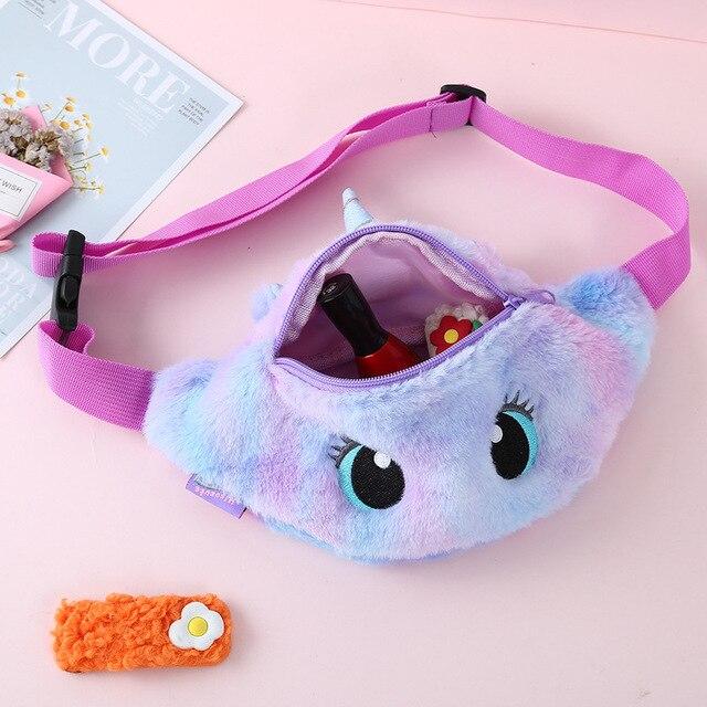 2021 Cute Unicorn Girls Waist Bag Cartoon Kids Fanny Pack Plush Women Belt Bag Fashion Travel Phone Pouch Chest Bag Coin Purse 5