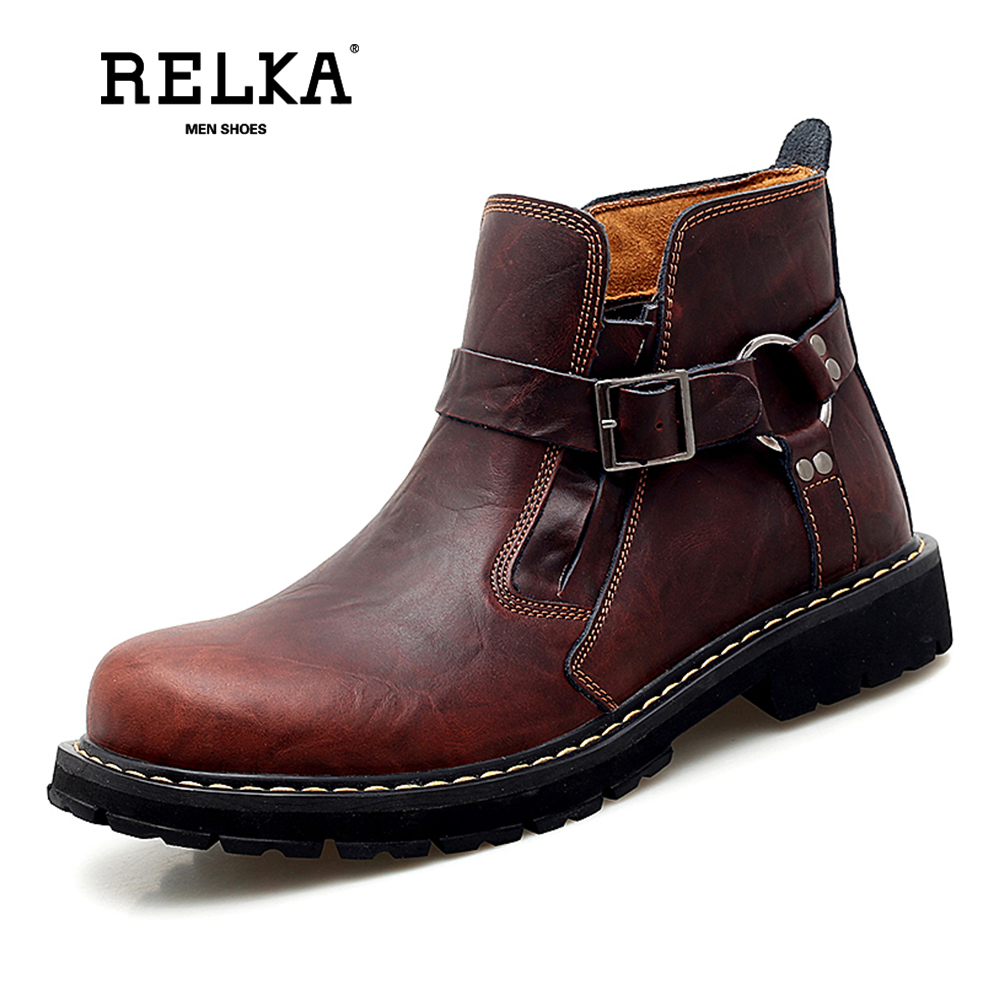 RELKA New Brand Warm Spring Winter Ankle Boots Men Genuine Leather Cowboy Boots Big Plus Size 45 46 Chelsea Boots Men Shoes B26