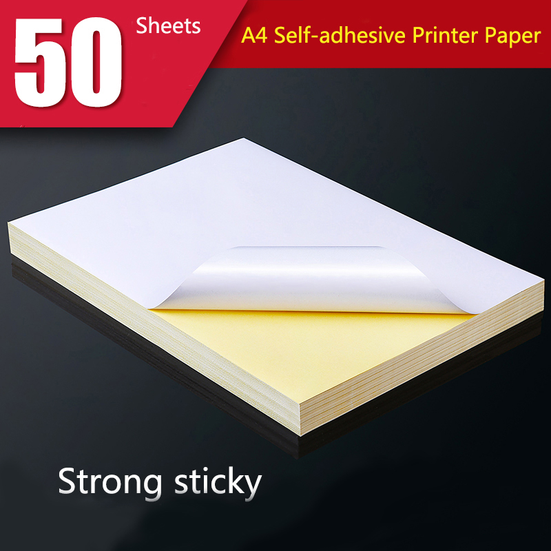 Sticker Label Craft-Paper Copier Inkjet-Printer 50-Sheets Laser Self-Adhesive Matte White