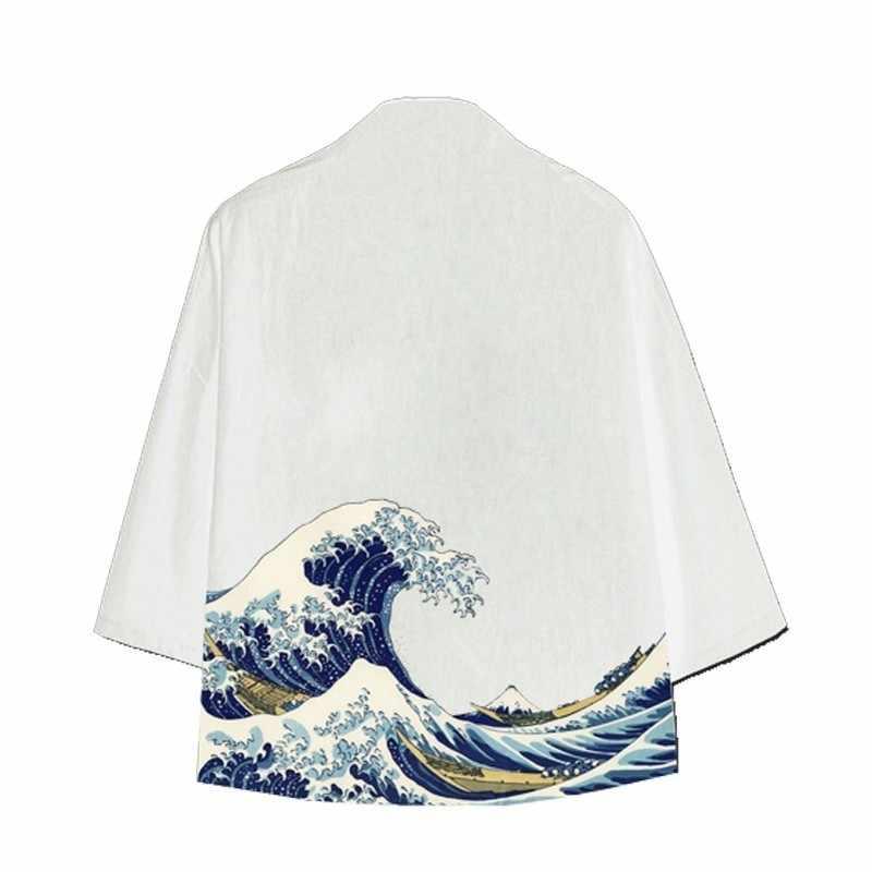 2020 남성 여름 얇은 루스핏 코튼 일본식 자켓 Streetwear Fashion Cardigan 하라주쿠 블랙 화이트 프린트 코트 남성
