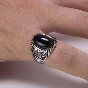 Image 5 - Guaranteed 925 Sterling Silver Rings Antique Turkey Ring For Men Black Ring With Stone Natural Onyx Turkish Male Jewelry
