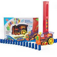 Domino Zug 80 stücke Dominosteine Spiele Kinder Spielzeug Automatische Verlegung Auto Dominosteine Gesetzt Bunte Kunststoff Dominosteine Blöcke Pädagogisches Spielzeug