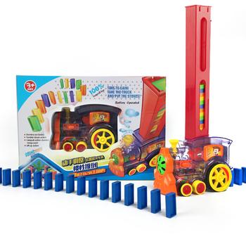 Domino Train 80 sztuk Domino gry zabawki dla dzieci automatyczne układanie Domino samochodu zestaw kolorowe plastikowe Domino bloki zabawki edukacyjne tanie i dobre opinie abay 8 ~ 13 Lat 14Y 2-4 lat 5-7 lat Dorośli Z tworzywa sztucznego Transport Muzyka