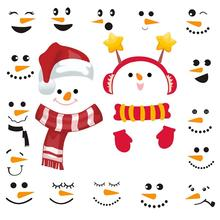 цена на 2Pcs Christmas Snowman Refrigerator Stickers 16Pcs Snowman Faces  for Christmas Party Decals, Wall stickers Cup paste