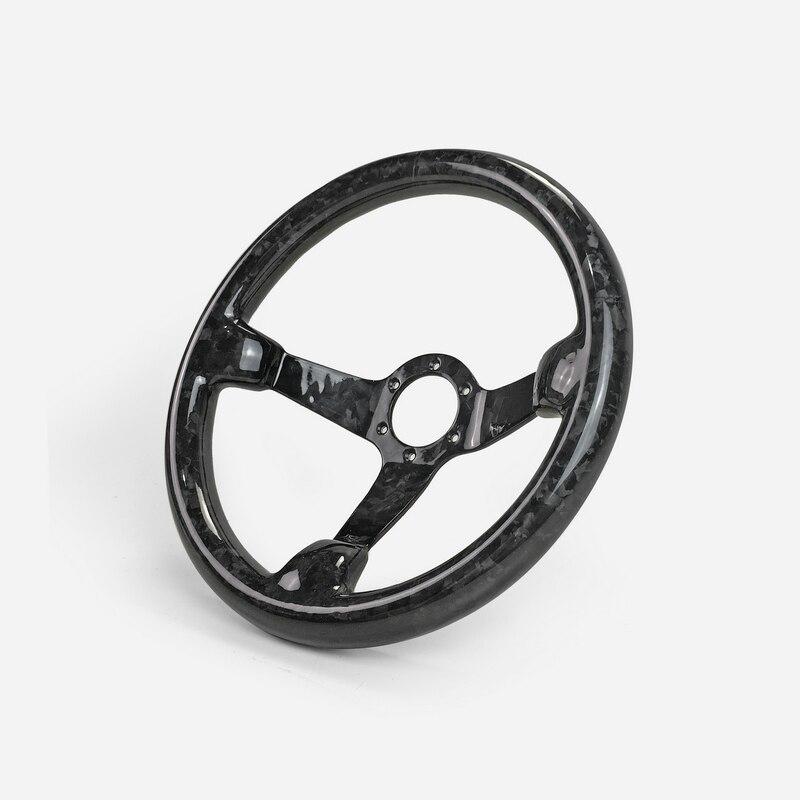 Universal Fit Glanzende Afwerking Gesmeed Carbon Diepe Schotel Type Stuurwiel (335mm Diameter, diepe Rond 60mm, 6 Bouten 70mm PCD)
