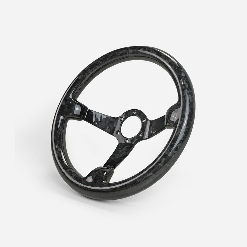 Universal Fit Glossy Finish Forged Carbon Deep Dish Type Steering Wheel (335mm Diameter, Deep Around 60mm, 6 Bolts 70mm PCD)