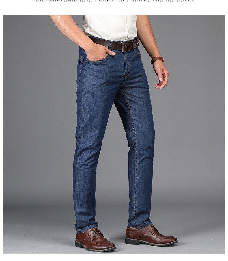 JS1018J-2020 Summer New Business Jeans Loose Straight Tube Men's Jeans Pants Tencel Fabric Casual Men's Pants