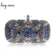 Bolso de mano azul de lujo para mujer, Cartera de noche para boda, bolso de hombro con cadena, con diamantes de imitación, para fiesta
