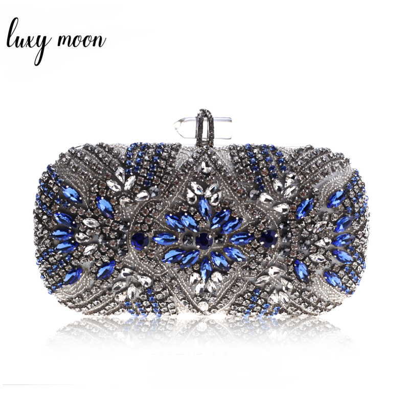 Women Clutch Luxury Party Evening Bag Wedding Purse Crystal Chain Shoulder Bag High Quality Rhinestone Female Blue Clutch